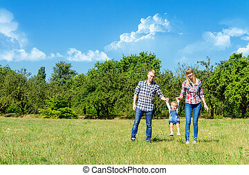 marche, famille, ensemble, heureux