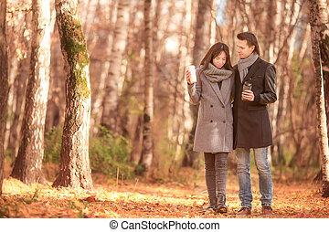 marche, famille, ensoleillé, parc, automne, diminuez jour, heureux