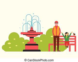 marche, famille, foutain, banc, vecteur, rouges