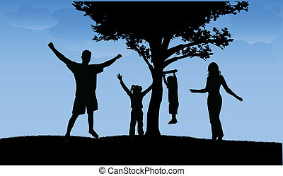 marche, famille, heureux
