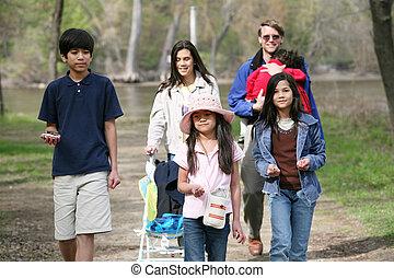 marche famille, long, pays, sentier
