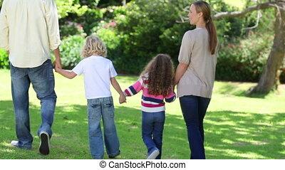 marche, famille, main