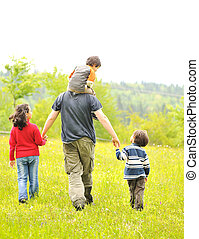 marche, famille, nature, engendrez enfants, heureux