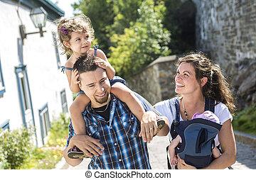 marche, famille, parc, vacances, par, jour, heureux