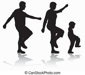 marche famille, silhouettes
