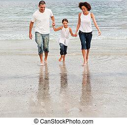 marche famille, sur, a, plage