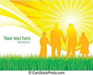 marche famille, vecteur, fond