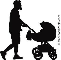 marche, (father), silhouette, voiture, vecteur, bébé, homme