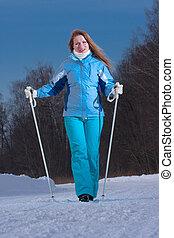 marche femme, à, horaire hiver