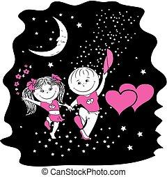 marche, femme, amour, stellaire, nuit, route, homme