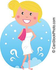 marche, femme, après, neige, sauna, chaud