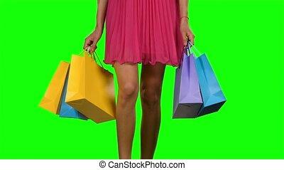 marche, femme, bags., écran, vert, tenue, achats