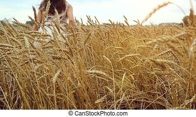 marche, femme, blé, 4k., maïs, jeune, main, courant, champ, slowmotion., toucher, field., 3840x2160, coucher soleil, girl, oreilles, heureux