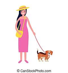 marche, femme, chien, elle