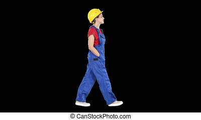 marche, femme, constructeur, mains, poches, canal alpha