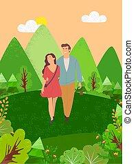 marche, femme, couple, arbres, forêt, homme