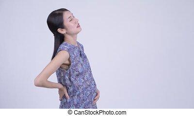 marche, femme, douleur, fatigué, pregnant, asiatique