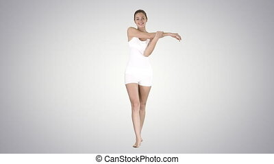 marche, femme, elle, gradient, étirage, jeune, satisfait, arrière-plan., quoique, bras, heureux