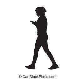 marche, femme, elle, mobile, isolé, silhouette, jeune, téléphone, vecteur, mains, vue côté