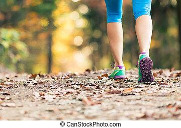 marche femme, et, randonnée, dans, forêt automne