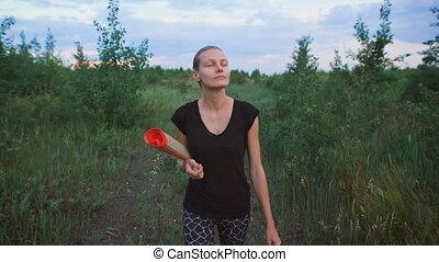 marche, femme, field., inspiré