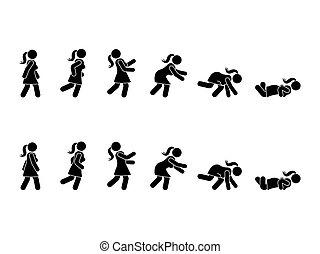 marche, femme, figure, pictogramme, ensemble, crosse