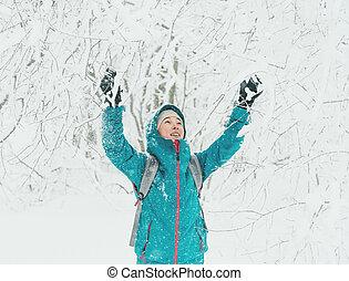 marche, femme, hiver, heureux