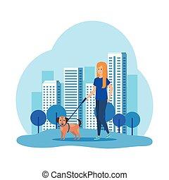 marche, femme, jeune, chien