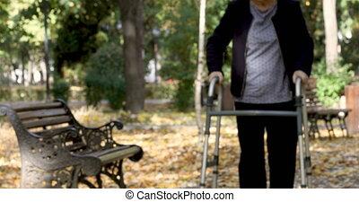 marche, femme, lever, banc, dehors, marcheur, personne agee