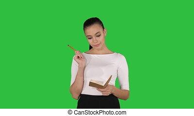 marche, femme, notes, chroma, jeune, écran, quoique, vert, key., confection