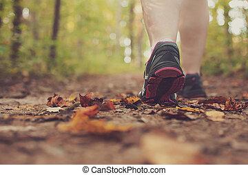 marche femme, par, forest.