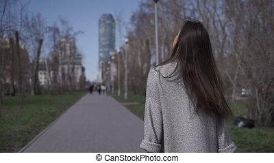 marche, femme, parc