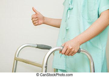 marche, femme, patient, cadre, promenade, rehab