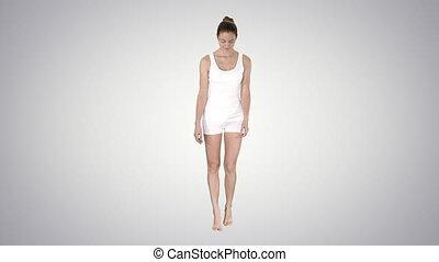 marche, femme, pieds nue, elle, gradient, jeune, arrière-plan., orteils