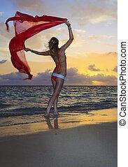 marche, femme, plage, bikini