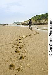 marche femme, plage