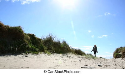 marche, femme, plage, joli