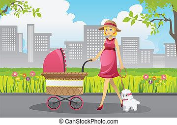marche, femme, pregnant