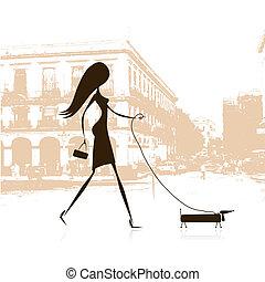 marche, femme, rue, chien