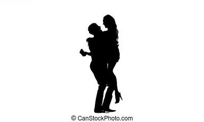 marche, femme, silhouette, main., main, couple, homme