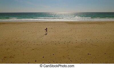 marche, femme, solitaire, jeune, abandonné, plage