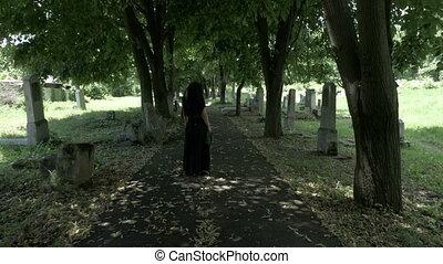 marche, femme, vieux, cimetière, obseque, arbre, couronne,...