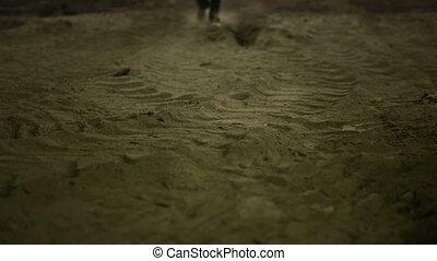 marche, film, scène, iii., poussière, homme