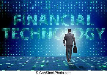 marche, financier, femme affaires, fintech, technologie