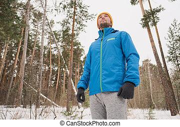 marche, forêt, hiver