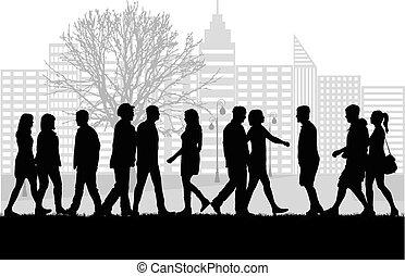 marche., foule, gens