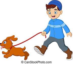 marche, garçon, mignon, chien
