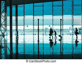 marche, gens, aéroport, bagage
