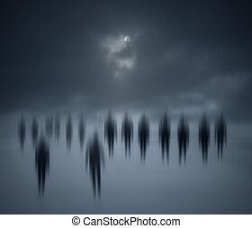 marche, gens, brouillé, nuit