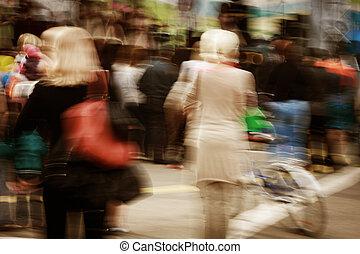 marche, gens dans mouvement, barbouillage